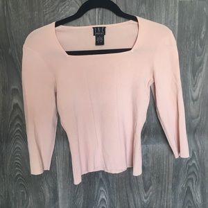 INC Soft Pink Fitted Long Sleeve Blouse